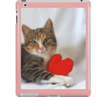 Little cat with valentines red heart iPad Case/Skin
