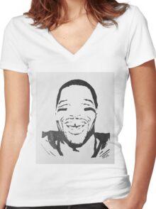 Michael Strahan Portrait Women's Fitted V-Neck T-Shirt