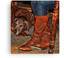 Boots and Buddy Painted Canvas Print