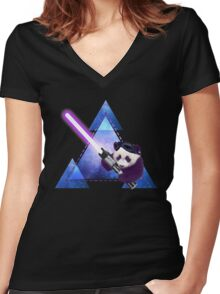 Galactic Panda With Lightsaber Women's Fitted V-Neck T-Shirt