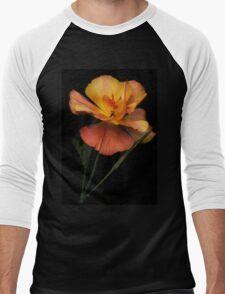 Silky peach coloured Californian Poppy Men's Baseball ¾ T-Shirt