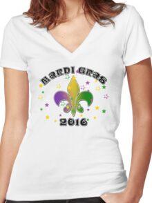2016 Mardi Gras New Orleans NOLA 2016 Women's Fitted V-Neck T-Shirt
