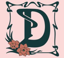 Fancy art nouveau letter D, flower One Piece - Short Sleeve