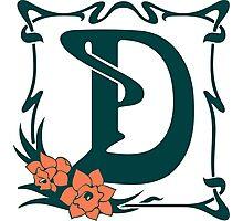 Fancy art nouveau letter D, flower Photographic Print
