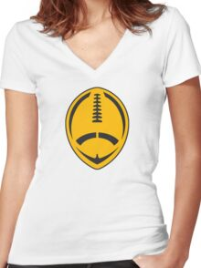 Gold Vector Football Women's Fitted V-Neck T-Shirt