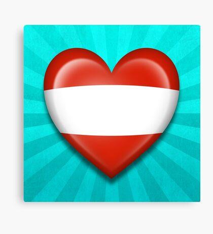 Austrian Heart Flag Canvas Print