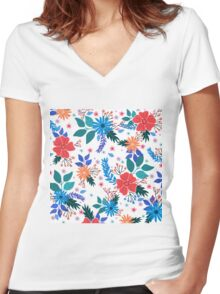Floral 5 Women's Fitted V-Neck T-Shirt