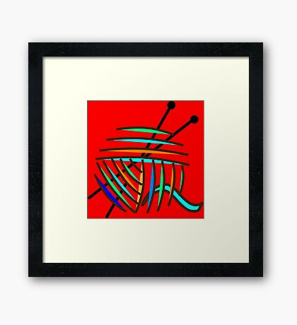 Knitting Needles and Colorful Yarn Framed Print
