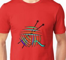 Knitting Needles and Colorful Yarn Unisex T-Shirt