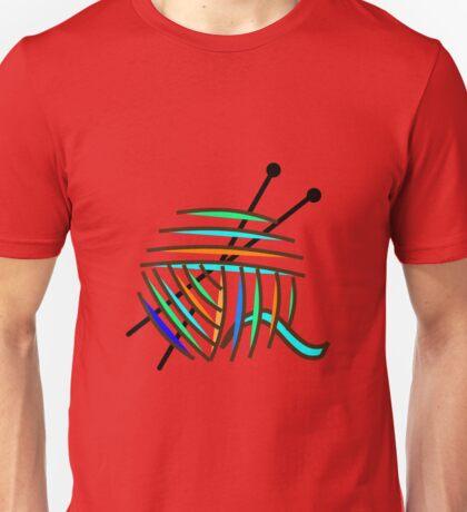 Knitting Needles and Colorful Yarn Unisex T-Shirt