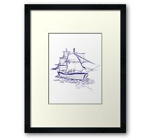 pirate ship blue drawing Framed Print