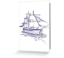 pirate ship blue drawing Greeting Card