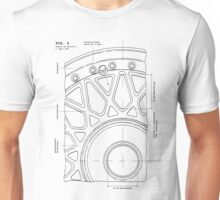 Split Wheel Patent Drawing Unisex T-Shirt