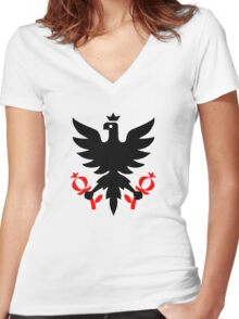 Imperial Eagle of the Seal of Bogota, Colombia. Women's Fitted V-Neck T-Shirt