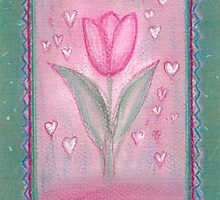 FOR YOU ! - A DREAMING PINK TULIP with little Hearts by RubaiDesign