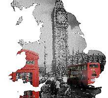 London black and white design - UK map by DraigConybear