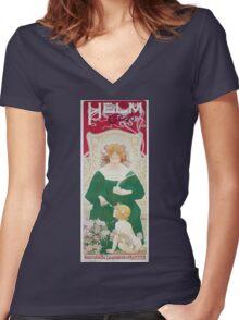 Vintage Art Nouveau Advertisement for Helm Cacao Women's Fitted V-Neck T-Shirt