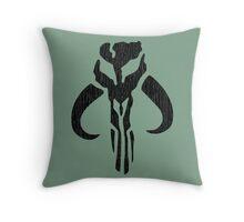 Mandalorian (black, distressed) Throw Pillow