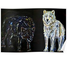 Two Wolves Symbolic Inspirational Art  Poster