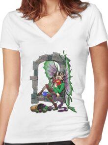 Knitting Fairy Women's Fitted V-Neck T-Shirt