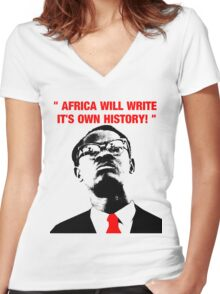 """"""" Africa will write its own history, """" Women's Fitted V-Neck T-Shirt"""