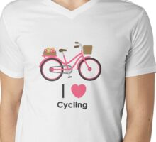I Love Cycling Mens V-Neck T-Shirt
