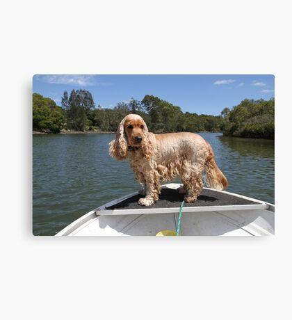 Fishing Dog Canvas Print