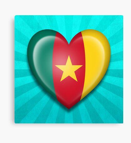 Cameroon Heart Flag Canvas Print