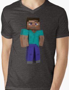 Minecraft Steve Mens V-Neck T-Shirt