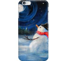 Snowman Gazes at Night Sky & Moon - Folk Painting .  iPhone Case/Skin