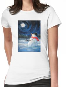 Snowman Gazes at Night Sky & Moon - Folk Painting .  Womens Fitted T-Shirt