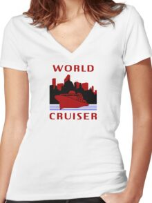 Being A World Cruiser Women's Fitted V-Neck T-Shirt