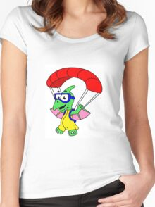 Illustration of a pterodactyl parachuting. Women's Fitted Scoop T-Shirt