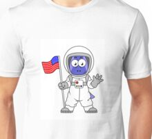 Illustration of a Parasaurolophus astronaut holding American Flag. Unisex T-Shirt