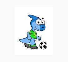 Cute illustration of a Parasaurolophus playing soccer. Unisex T-Shirt