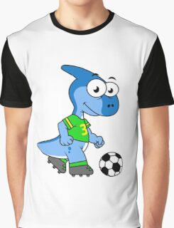 Cute illustration of a Parasaurolophus playing soccer. Graphic T-Shirt