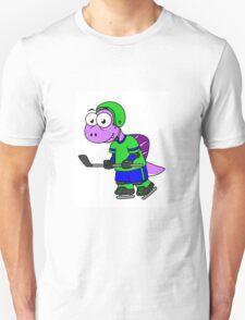 Illustration of a Spinosaurus hockey player. Unisex T-Shirt