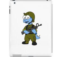 Illustration of a Stegosaurus soldier. iPad Case/Skin