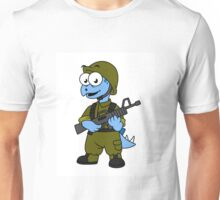 Illustration of a Stegosaurus soldier. Unisex T-Shirt