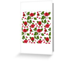 Simple roses with leafs pattern Greeting Card