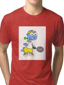 Illustration of a Tyrannosaurus Rex tennis player. Tri-blend T-Shirt