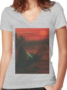 Pod Crash Site  Women's Fitted V-Neck T-Shirt