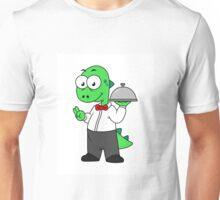 Illustration of a Tyrannosaurus Rex food waiter. Unisex T-Shirt