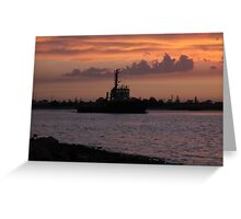 Tugging Along At Sunset Greeting Card