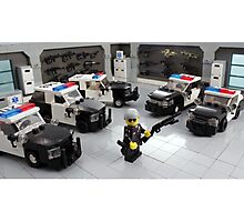 "Custom LAPD ""LEGO"" Minifigure and Cars Photographic Print"