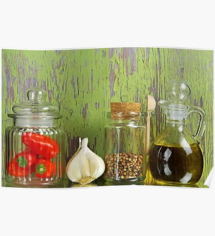 A still life of jars with peppers. Poster