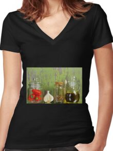 A still life of jars with peppers. Women's Fitted V-Neck T-Shirt