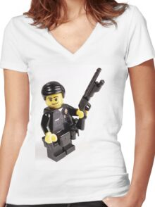 LAPD Patrol Officer - Custom LEGO Minifigure Women's Fitted V-Neck T-Shirt