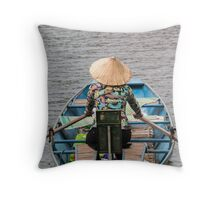 Vietnamese Lady Boat on Ngo Dong River Tam Coc Throw Pillow