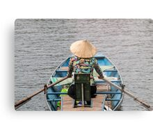 Vietnamese Lady Boat on Ngo Dong River Tam Coc Metal Print